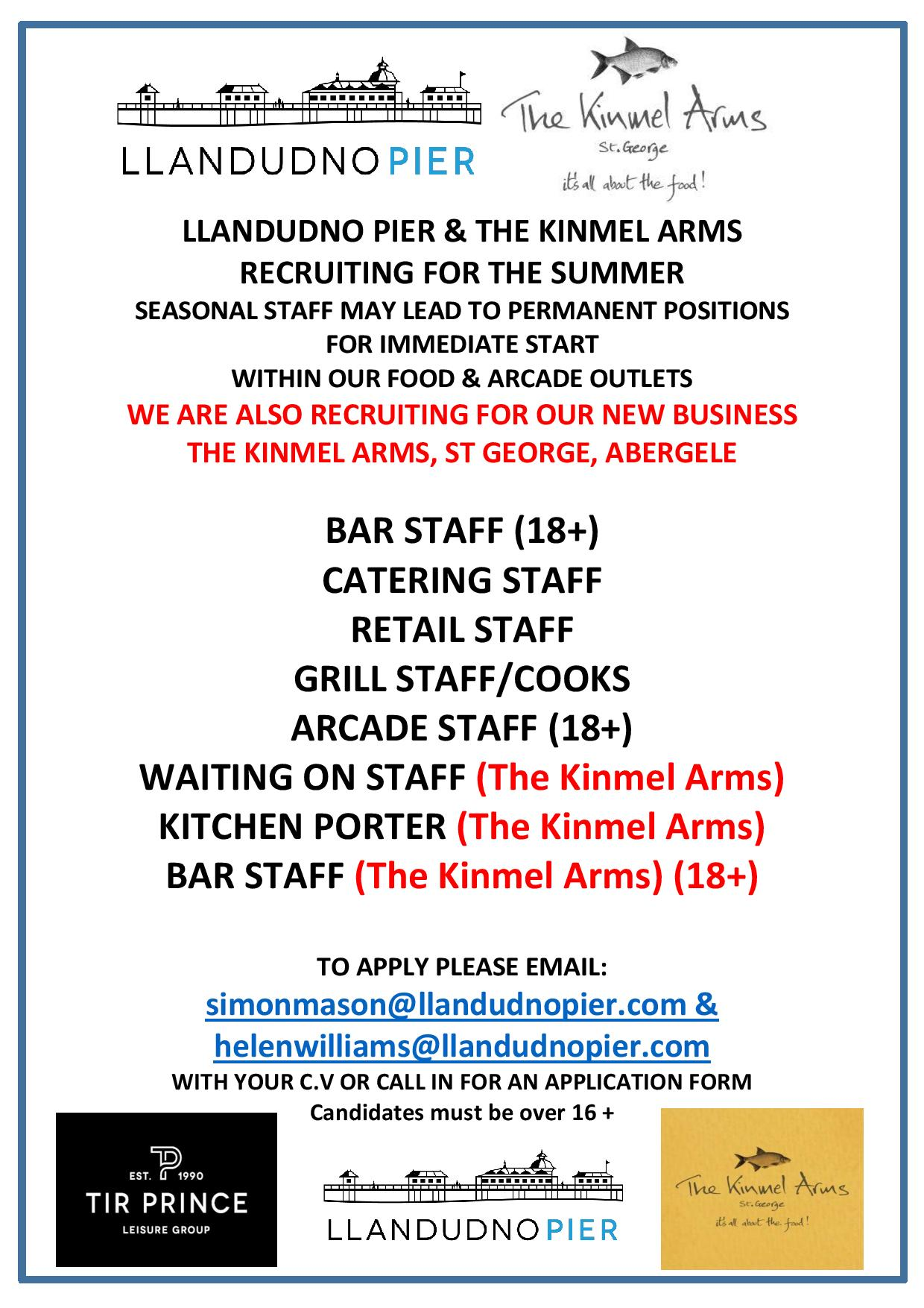 LLANDUDNO PIER & KINMEL ARMS JOB ADVERT